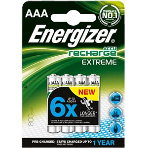Energizer Extreme 4x AAA rechargeable batteries, 800 mAh ENERGIZER E300624400