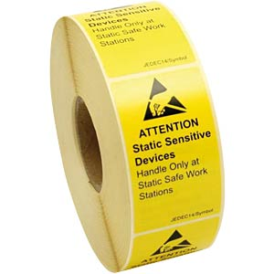 ESD logo labels, Eng., 40 x 70 mm, 1000 units . STAT-X 932116 000001