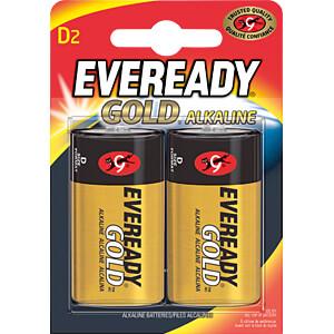 Gold, alkaline battery, D (Mono), 2-pack EVEREADY