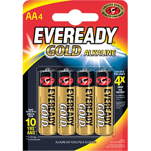 Gold, alkaline battery, AA, pack of 4 EVEREADY