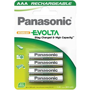 PANASONIC Evolta batteries, 4xAAA, 750 mAh PANASONIC HHR-4MVE/4BC