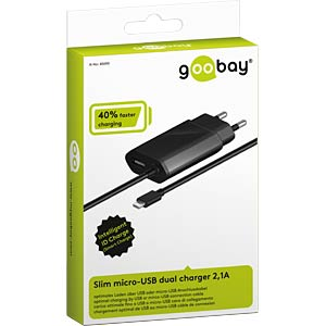 Slim micro-USB dual charger 2.1A GOOBAY 45690