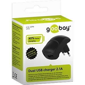Dual USB charger 2.1 A, black GOOBAY 63790