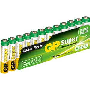 Pack of 12 alkaline AAA batteries GP-BATTERIES