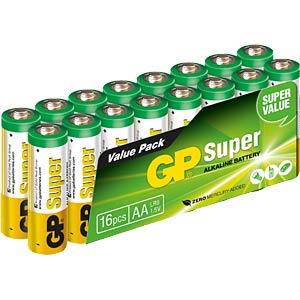 Pack of 16 alkaline Mignon (AA) batteries GP-BATTERIES