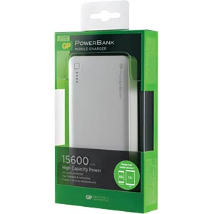 Powerbank, Li-Po, 15600 mAh, USB GP-BATTERIES 1303C15AWHITE