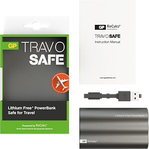 Powerbank TravoSafe, NiMh, 3800 mAh, USB GP-BATTERIES 1304H03BLACK