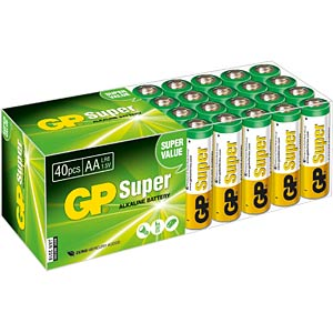 Pack of 40 alkaline AA batteries GP-BATTERIES 03015AB40