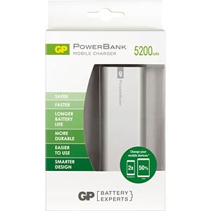 GP PowerBank FN05M - 5.200 mAh, Silber GP-BATTERIES 130FN05MSILVER