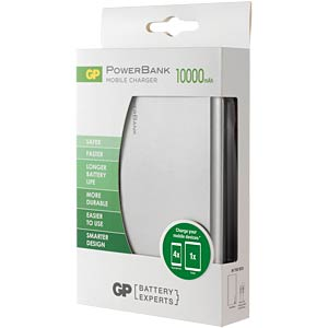 GP PowerBank FP10M - Silber, 10.000 mAh GP-BATTERIES 130FP10MSILVER