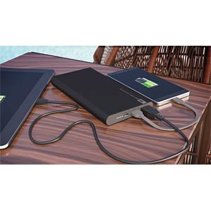Powerbank, Li-Po, 10000 mAh, USB GP-BATTERIES 130FP10MBLACK