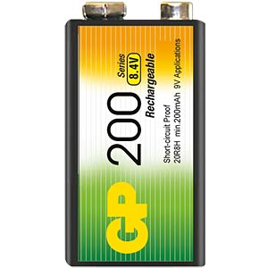GP NiMh-Akku, 9-Volt, 200mAh GP-BATTERIES GP 20R8HC1