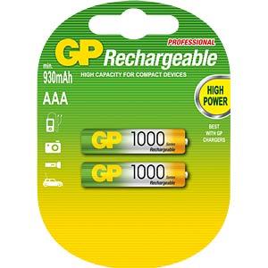 NiMh Akku, AAA (Micro), 950 mAh, 2er-Pack GP-BATTERIES GP100AAAHCE