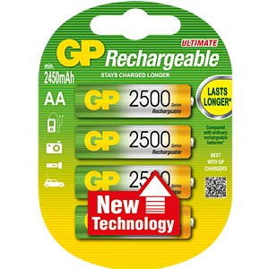 GP NiMH batteries, AA, 4x2450 mAh GP-BATTERIES GP 250AAHCBCC4