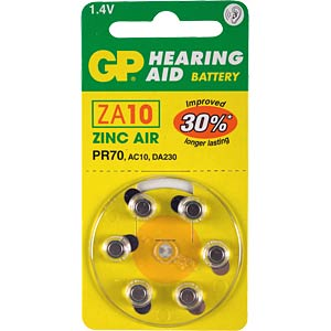 GP, Zinc Air, pack of 6, 1.4 V, 5.80x3.60 GP-BATTERIES 090.10D6