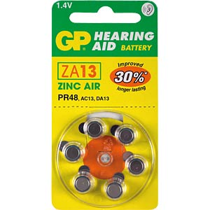 GP, Zink-Luft, 6er Pack, 1,4V, 7,90x5,40 GP-BATTERIES 090.13D6