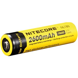Nitecore Li-Ion 18650 cell with PCB, 2600 mAh NITECORE NL186