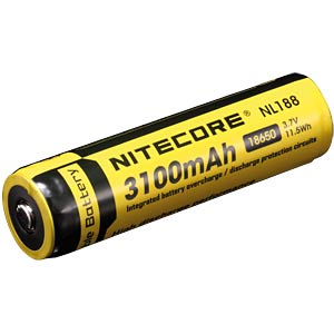Nitecore Li-Ion 18650 cel met PCB, 3100 mAh NITECORE NC NL1832