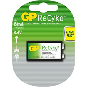 GP ReCyKo+ battery, 9-volt block, 150 mAh GP-BATTERIES