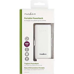 Powerbank, Li-Ion, 5000 mAh, USB, weiß NEDIS UPBK5000WT