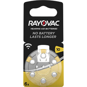 Pack of 6 zinc air button cells, 5.8x3.6 mm RAYOVAC 4610 945 416
