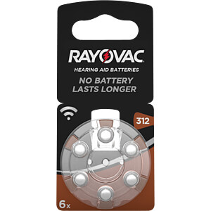 Hörgerätebatterie, Zink-Luft, 7,9x3,6 mm, Aid 312, 6er-Pack RAYOVAC 4607 945 416
