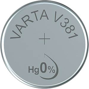 Silberoxid-Knopfzelle, V 381, 45 mAh, 11,6 x 2,1 mm VARTA 381101111