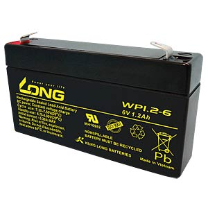 Maintenance-free rechargeable lead-fleece battery, 1.2 Ah, 6V KUNG LONG WP 1.2-6