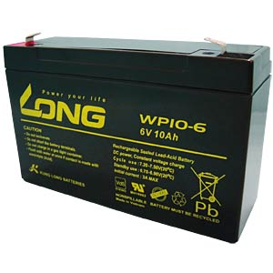 Maintenance-free rechargeable lead-fleece battery, 10 Ah, 6 V KUNG LONG WP 10-6