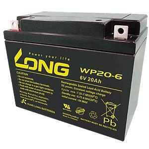 Maintenance-free rechargeable lead-fleece battery, 20 Ah, 6 V KUNG LONG WP 20-6