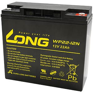 Maintenance-free rechargeable lead-fleece battery, 22 Ah, 12 V KUNG LONG WP 22-12