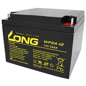 Maintenance-free rechargeable lead-fleece battery, 24 Ah, 12 V KUNG LONG WP 24-12