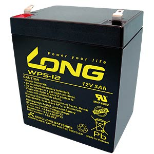 Maintenance-free rechargeable lead-fleece battery, 5 Ah, 12 V KUNG LONG WP 5-12