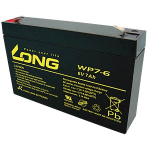 Maintenance-free rechargeable lead-fleece battery, 7 Ah, 6 V KUNG LONG WP 7-6