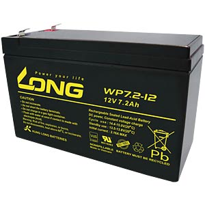 Maintenance-free rechargeable lead-fleece battery, 7.2 Ah, 12 V KUNG LONG