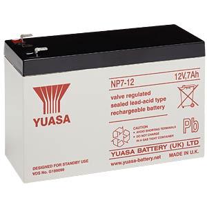 YUASA Blei-Vlies-Akku, 7 Ah, 12 V, VdS, Faston 4,8 mm YUASA NP7-12