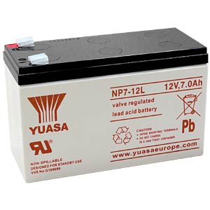 YUASA Blei-Vlies-Akku, 7 Ah, 12 V, VdS, Faston 6,3 mm YUASA NP7-12L