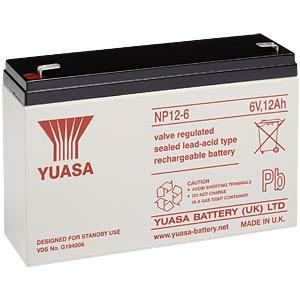 YUASA Blei-Vlies-Akku, 12 Ah, 6 V, VdS YUASA NP12-6
