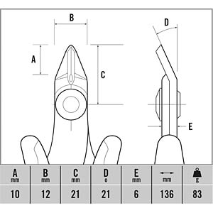 ESD Seitenschneider, 136 mm C.K T3887