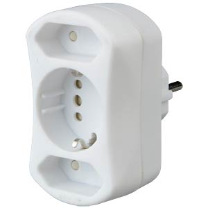 2x Euro, 1x safety contact, white KOPP 179602001