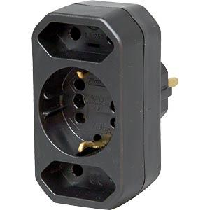 2x Euro, 1x safety contact, black KOPP 179605004