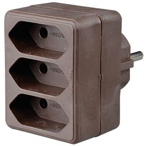 Safety plug, 3 x Euro sockets, brown FREI