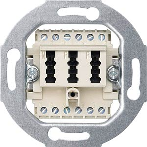 Telecommunications connection socket — TAE 3-gang, 2x6/6 NF/F, w MERTEN 465226