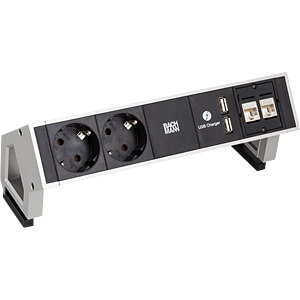 Multiple socket, 2-way, type F, 2x USB, BACHMANN 902.563