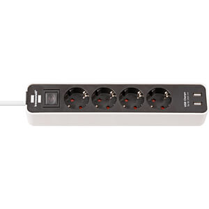Steckdosenleiste, 4-fach, Typ F, 2 x USB, 1,5 m, weiß BRENNENSTUHL 1153240026