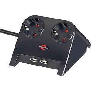 Steckdosenleiste, Desktop-Power, 2-fach mit 2x USB, schwarz BRENNENSTUHL 1153500222