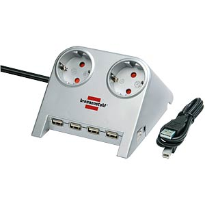 Desktop Power Plus with USB 2.0 hub, silver BRENNENSTUHL 1153540122