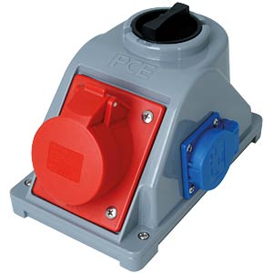 CEE wall socket, 400 V, 16 A, red, with switch KOPP 107000000