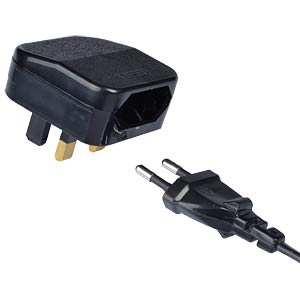 CEEE7 Europlug to UK Converter (FCP), black POWERCONNECTIONS FCP BK