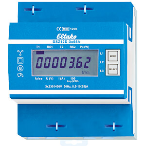 Three-phase energy meter - MID approved, 3x65 A ELTAKO DSZ12D-3X65A